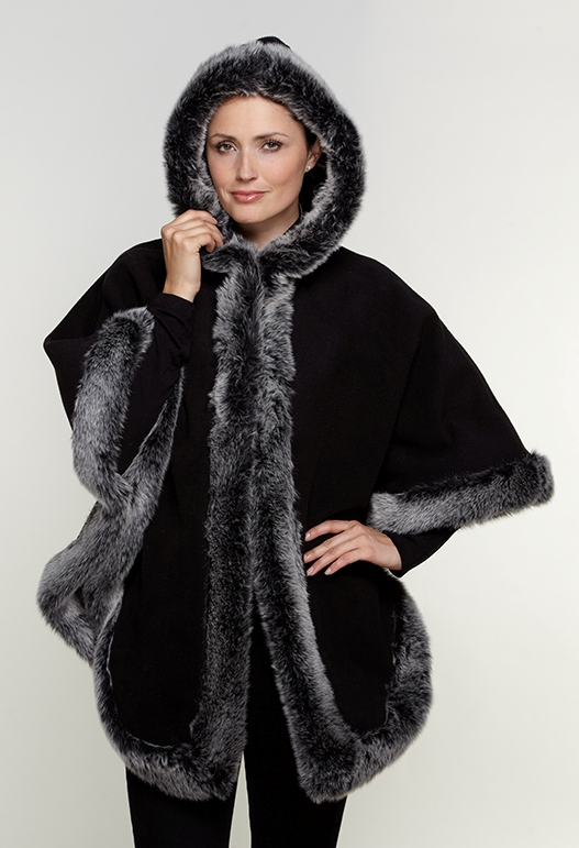 Womens Faux Cashmere Faux Fur Trimmed Hooded Cape